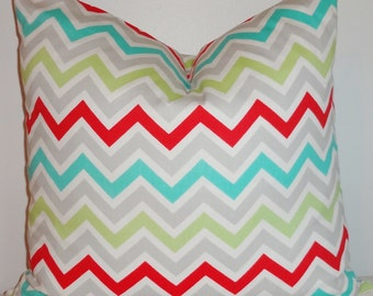 Decorative Pillow Cover Zig Zag Chevron Red Blue Green Grey Throw Pillow Cover 18x18