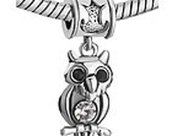 Owl Charm Dangle Bead Fits European Bracelets