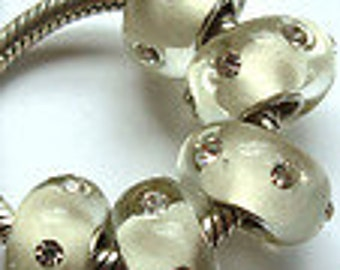 Crystal Clear with Clear Crystals Murano Glass Bead Fits European  Style Bracelets