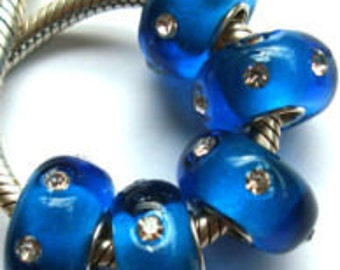 Sapphire Blue with Clear Crystals Murano Glass Bead Fits European  Style Bracelets