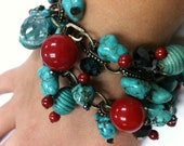 Turquoise and Red Cha-Cha Bracelet