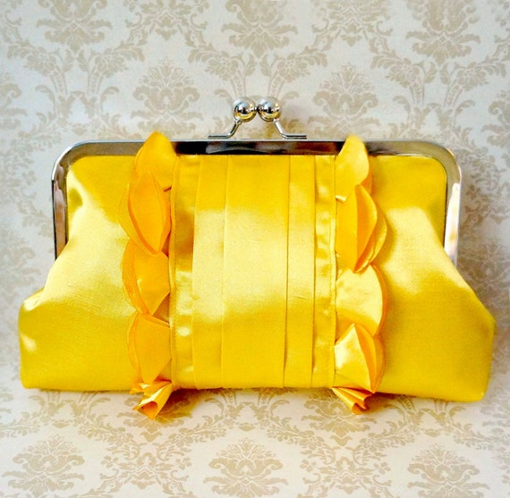 Romantic Bridal and Bridesmaid Clutch Purse- Goldenrod Yellow