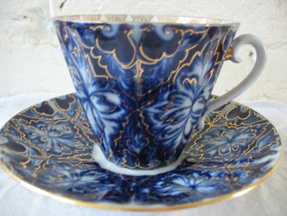 Lomonosov Porcelain Teacup And Saucer Black Grouse Russian