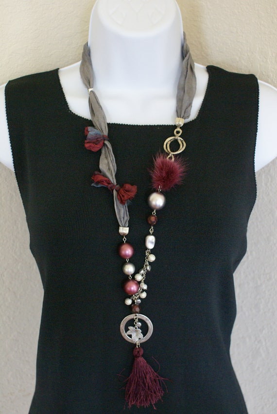 Burgundy grey color silk scarf necklace  with  pendant