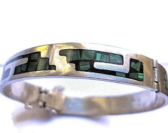 Vintage Bracelet Malachite Onyx Sterling Silver Mexico