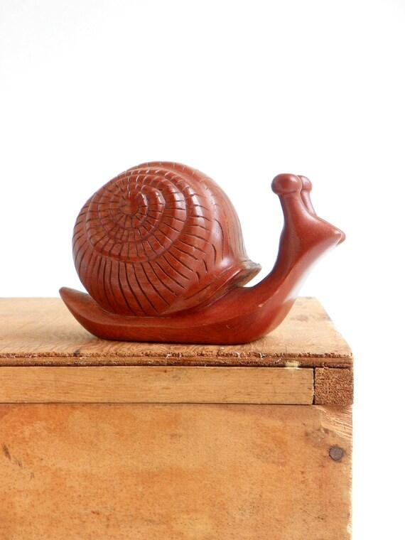 Mid Century Handmade  Wooden Snail