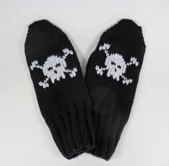 READY TO SHIP - Baby Skulls Embroidered Women's Mittens - Free Shipping in Canada