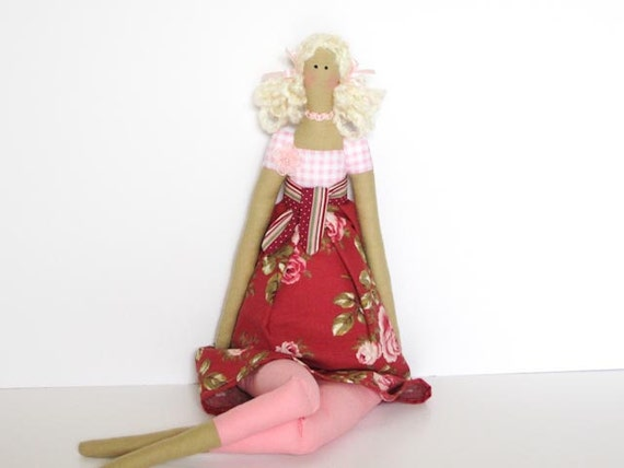 Handmade child friendly cloth doll,lovely fabric doll in cute rose dress - blonde stuffed doll. Gift idea for girls and mom