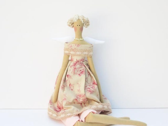 Pretty fabric angel doll, rose Angel,cloth doll - blonde pink pastel rose dress- gift for girl. Collectible shabby chic doll- made to order
