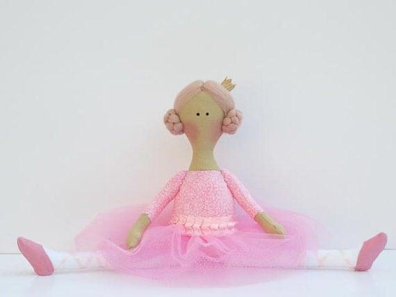 Reserved for Joan - Pink ballerina doll - cute fabric doll,cloth doll, stuffed doll softie rag doll ballet dancer