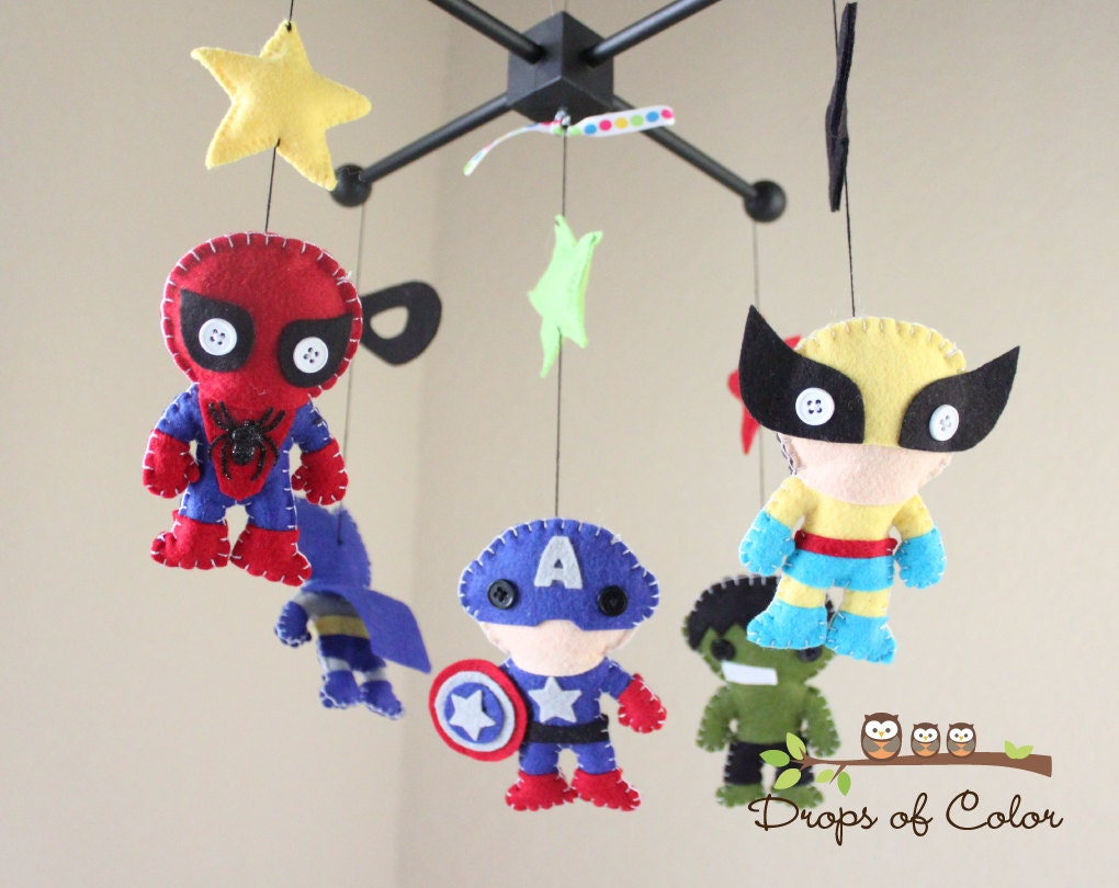 baby mobile baby crib mobile super hero mobile nursery - 🔎zoom