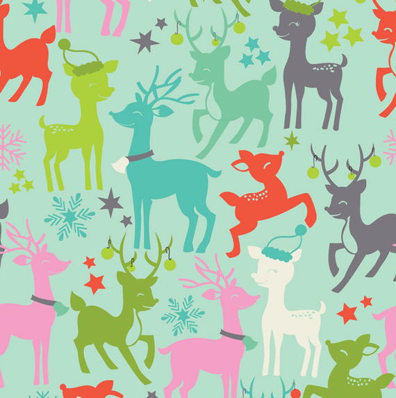 SALE - Reindeer Games in Blue from Tinsel by Maude Asbury for Blend, 100% Cotton, 1/2 yard