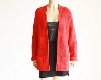 80's Red Boucle Knit Sweater S M L