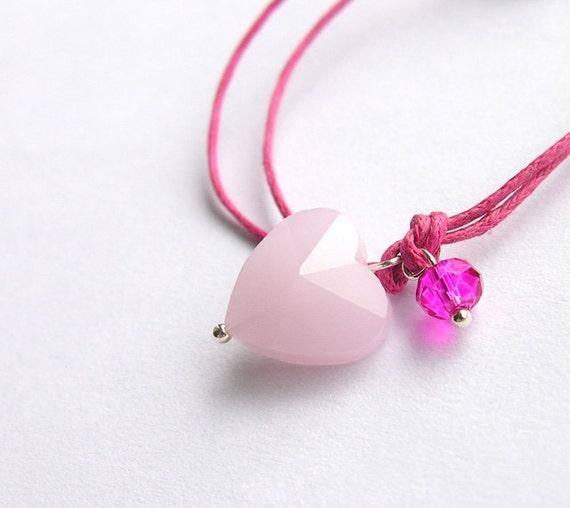 Bracelet pink heart, tiny, lovestatement
