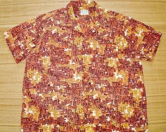 Mens Vintage 50s Pilgrim Bamboo Woven Wicker Hawaiian Tribal Tapa Tiki Shirt - XXL 2XL -  The Hana Shirt Co