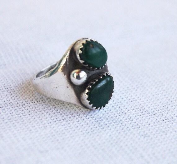 Vintage Green Turquoise Ring Lovers in Orbit