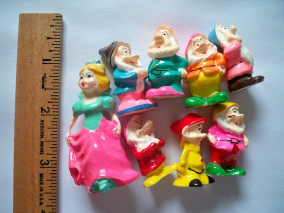 Rare, Vintage Snow White and the Seven Dwarfs petite figurines / many other possibilities - A touch of retro Neon Paint - Vintage Disney