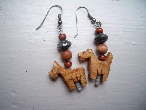Vintage Wooden Dog Earrings - Metal and Seed Beads Too
