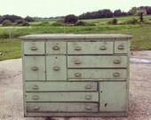 Perfect Scovill Green Workbench/Dresser