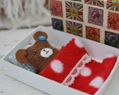 Ted in a Bed MATCHBOX TEDDY bear toy with pillow and blanket vintage retro box boy or girl