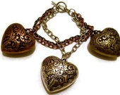 Chunky Heart Bracelet - Mixed Metals - Large Heart Jewelry