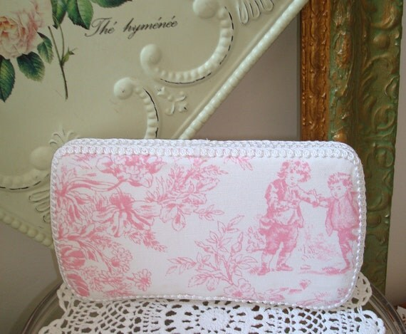 Pink Toile Wipes Case-Baby Wipes-Baby Girl-French Toile Fabric-Diaper Bag-Baby Diaper-Couture Baby-Shabby.