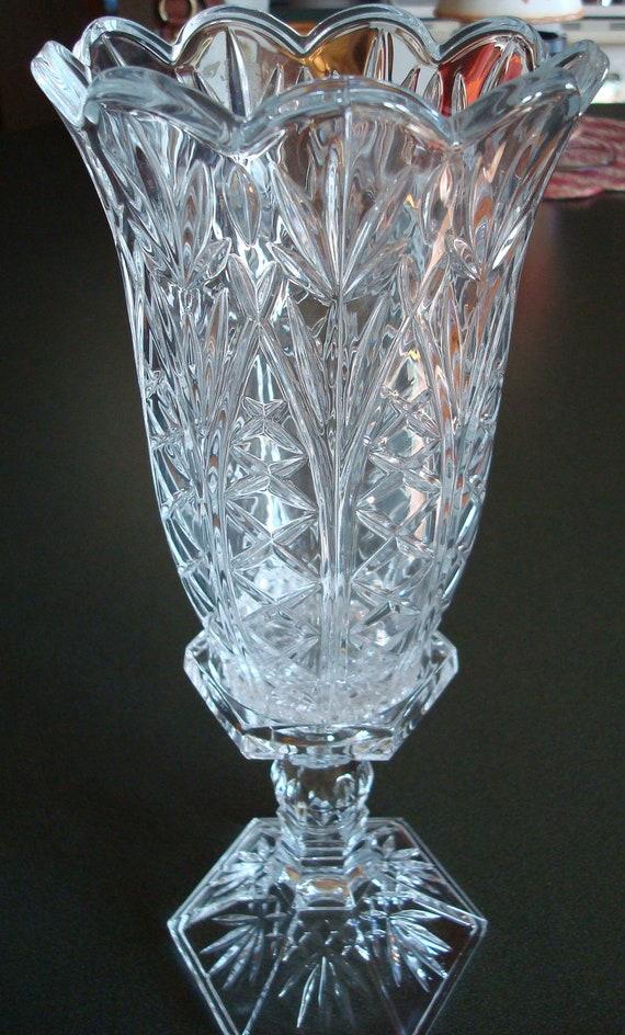 Vintage Crystal Candle Holder Vase Two Piece Set Pillar