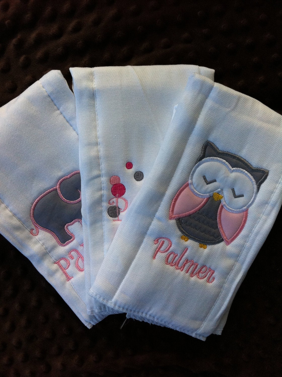 Set Personalized Burp Cloths Diaper Baby Girl