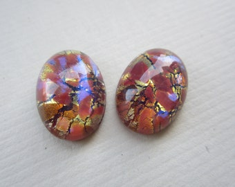 13x18mm Red Multi Opal Glass Cabs 2Pcs.