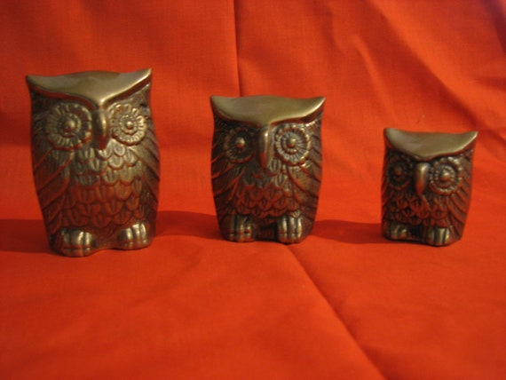Mid Century Owl Family Solid Brass