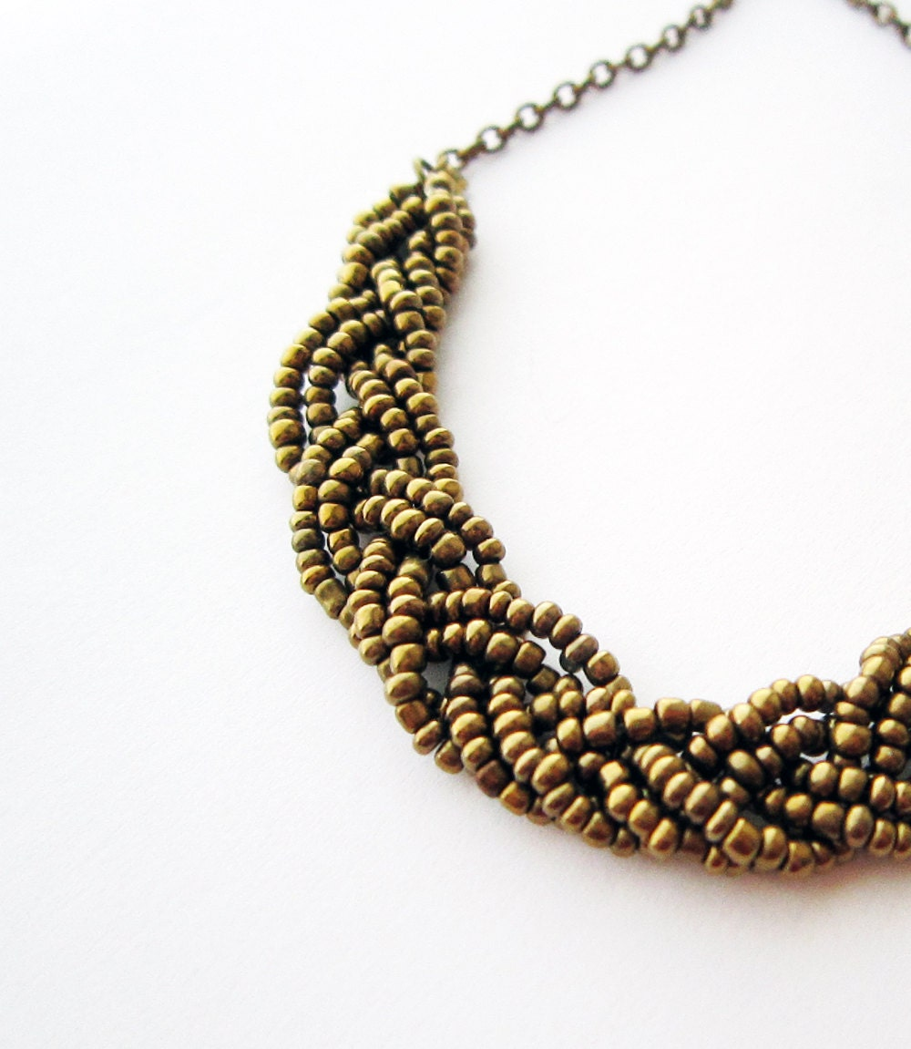 bronze beaded necklace beaded braided necklace statement