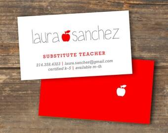 Teacher or Substitute Business Card - Applelicious - Tutor Card - Printable