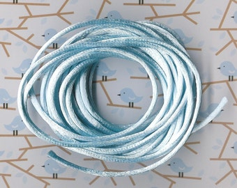 2mm Satin Rattail Bead Cord-Light Baby Blue-3 yard section