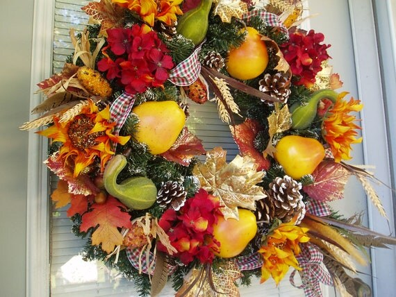Reduced 20 00 sale 99 00 xl elegant fall wreath nature s bounty