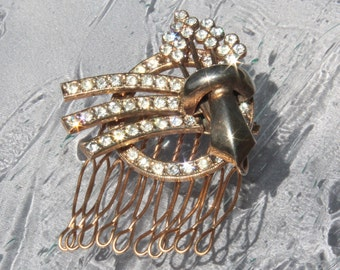 Art Deco Wedding Brooch/Haircomb/Pendant Pave Crystal Rhinestone Bridal Haircomb