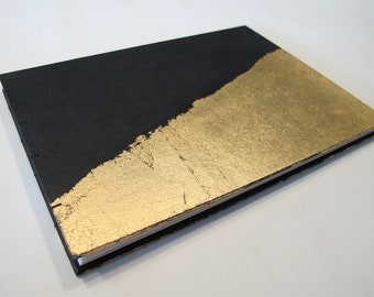 Small Art Deco Black and Gold Leaf Modern Wedding Guest Book Instax Polaroid Photo Album