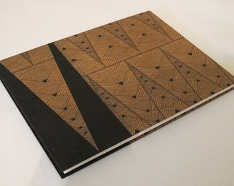 Large Art Deco Black and Tan Geometric Wedding Guest Book Instax Polaroid Photo Album