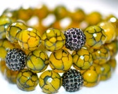 Faceted Fire Crackle Agate Semi Precious Gemstone Beaded Bracelet with Black Pave Rhinestones