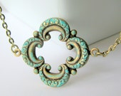 Patina Filigree Necklace - Turquoise Patina on an Ornate Brass Filigree Pendant