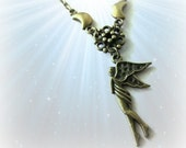 Moon fairy necklace jewelry vintage style moon goddess charm antique brass bronze pagan jewelry wicca