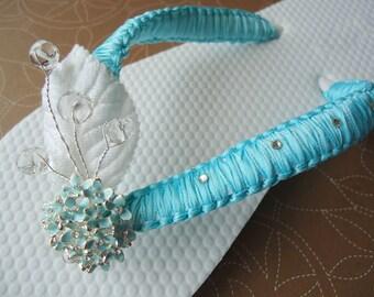 Aqua-Flip Flops. Turquoise - Aqua-Teal  in macrame with Swarovski Crystals-Macrame Collection-001-