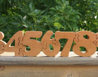 Number Puzzle Wooden Puzzle - Counting Custom Cut All Natural, Organic, and Eco Friendly