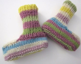 Pastel Striped Hip Cool Stylish Fashion Booties for Baby Girls