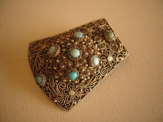 Antique Chinese Filigree Turquoise Stones Dress Clip