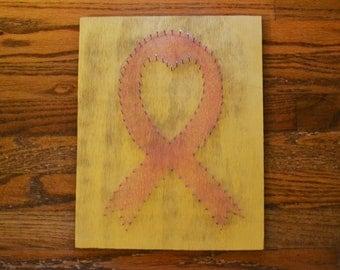 Breast Cancer Awareness Pink Ribbon String Art - Large - 20% of proceeds benefit Susan G. Komen
