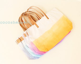 Large Canvas Ombre Tote Bags - Wedding Package for Bridesmaids (your choic of color) - with leather straps