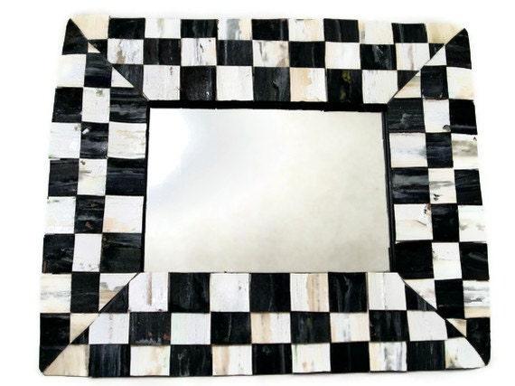 Black and White Mirror, Cork Checkered Squares 8 x 10
