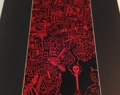 Black and Red Large Awesome Drawing Matted 16x20 Reproduction