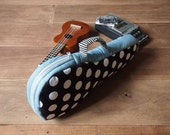 Soprano ukulele case - Midnight Memory - Blue and White Polka dot Ukulele Bag (Ready to ship)