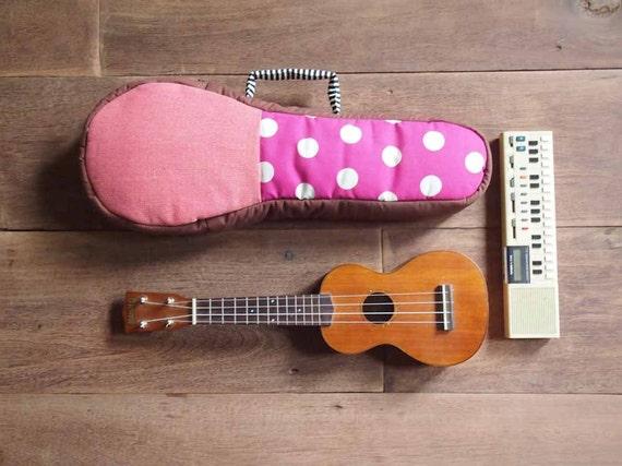 Pink Melody - Polaka dot and stripe ukulele bag (Soprano Size)